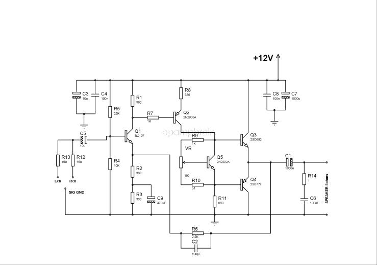 BD139 BD140 audio amplifier schematic