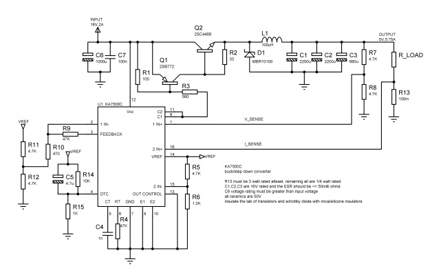 ka7500c circuit buck converter